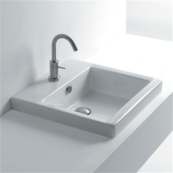 WS Bath Collections Whitestone 18.9-in x 18.9-in Ceramic White Recessed Bathroom Sink