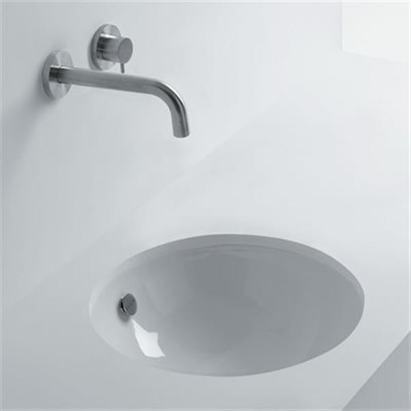 WS Bath Collections Whitestone 18.10-in x 18.10-in White Ceramic Round Undermount Bathroom Sink