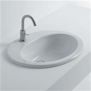 WS Bath Collections Whitestone 24.40-in x 20.10-in White Ceramic Oval Insert Bathroom Sink