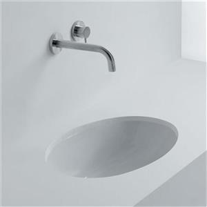 WS Bath Collections Whitestone 22.60-in x 20.70-in White Ceramic Oval Undermount Bathroom Sink