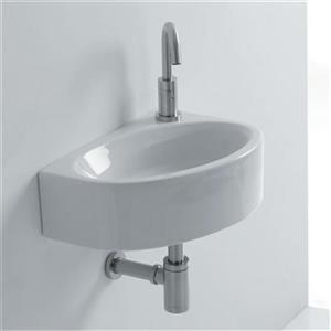 WS Bath Collections Whitestone 16.50-in x 11.60-in White Ceramic Oval Wall Mounted Bathroom Sink