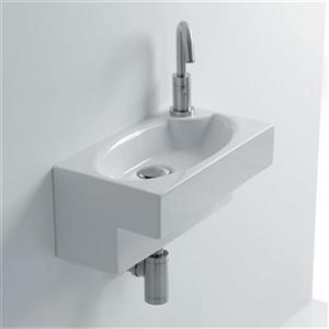 WS Bath Collections Whitestone 17.30-in x 9.80-in White Ceramic Oval Wall Mounted Bathroom Sink