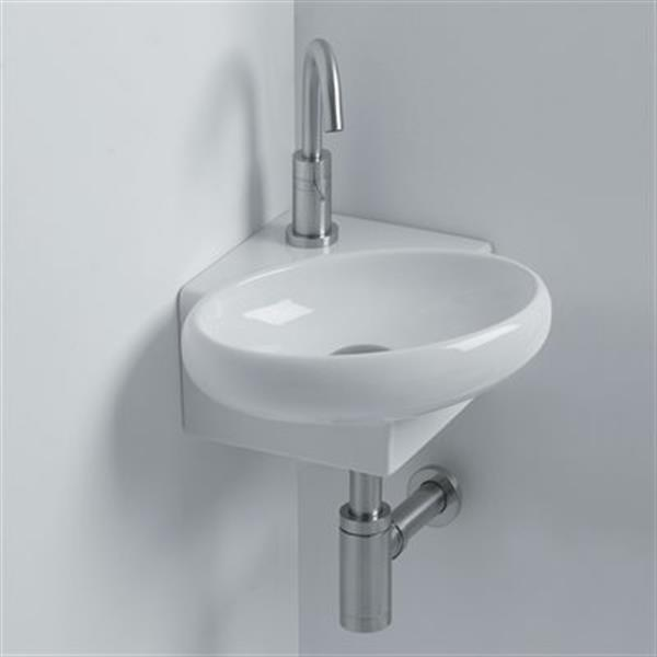 WS Bath Collections Whitestone 14.60-in x 13.40-in White Ceramic Oval Wall Mounted Bathroom Sink