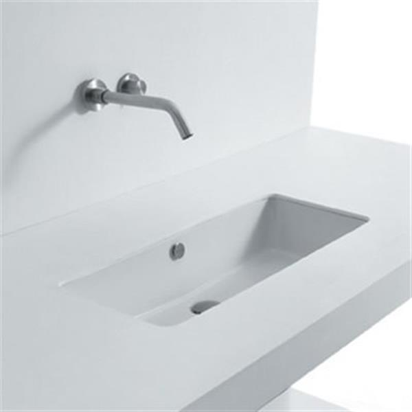 WS Bath Collections Seed 31.50-in x 13.40-in White Ceramic Rectangular Undermount Bathroom Sink