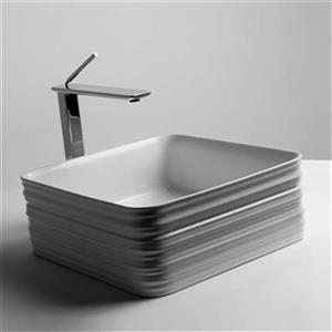 WS Bath Collections Trace 15-in x 15-in White Ceramic Square Vessel Bathroom Sink