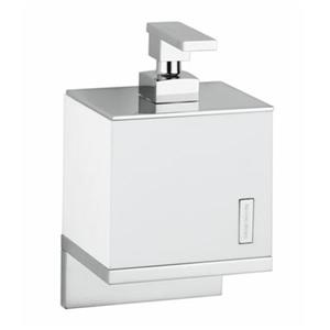 WS Bath Collections Demetra 7.90-in Chrome/White Wall Mounted Soap Dispenser