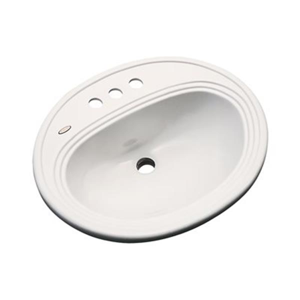 Dekor Master Vail 20.75-in x 18-in Natural 4-in Centerset Drop-In Oval Bath Lavatory Sink