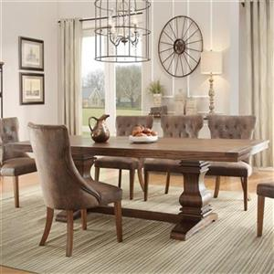 Homelegance Marie 78-in x 42-in x 30-in Rustic Weathered Oak Dining Table with 18-in Leaf