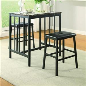 Homelegance Edgar Black 3-Piece Counter Height Dining Set