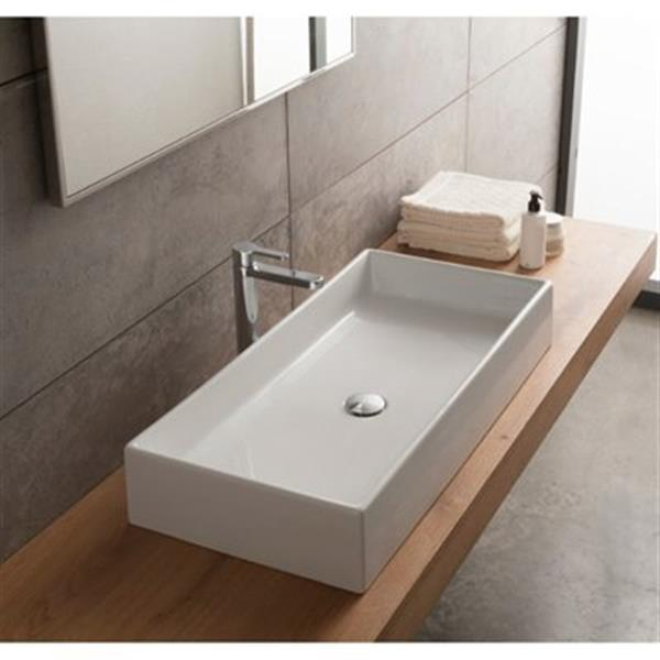 Nameeks Teorema 31 69 In X 15 35 In White Ceramic Rectangular Vessel Sink Rona