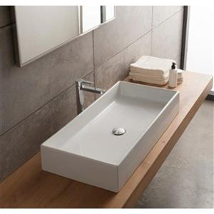 Nameeks Teorema 31.69-in x 15.35-in White Ceramic Rectangular Vessel Sink