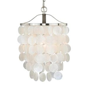 Cascadia Elsa 1-Light 10.5-in Nickel Capiz Shell Waterfall Pendant Light