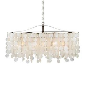 Cascadia Elsa 36-in Nickel Capiz Shell Chandelier Island Pendant Light