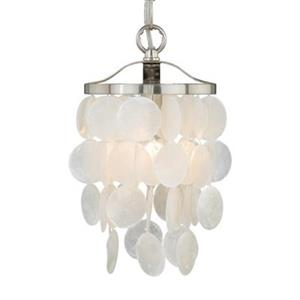 Cascadia Elsa 5-in Nickel Coastal Capiz Shell Mini Pendant Light