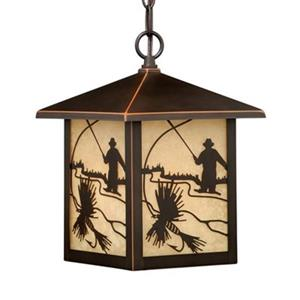 Cascadia Lighting Mayfly Collection 8-in x 11-in Burnished Bronze with Fly Fishing Silhouettes Rectangular Pendant Light