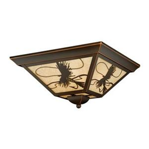 Cascadia Mayfly 14-in 3-Light Bronze Rustic Fish Outdoor Flush Ceiling Light