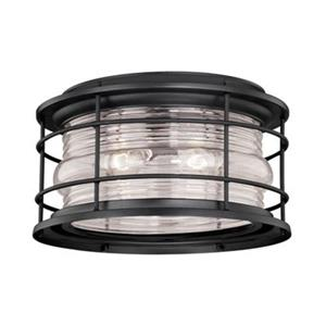 Cascadia Hyannis 12-5/8-in Black Coastal Outdoor Flush Mount Ceiling Light