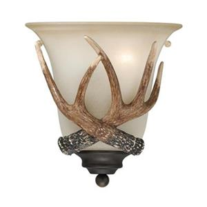 Cascadia Yoho 1-Light Bronze Rustic Antler Flush Wall Sconce