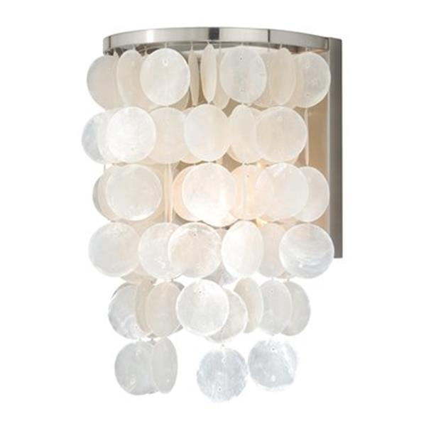 Cascadia Elsa 1-Light Nickel Capiz Shell Coastal Bathroom Wall Light