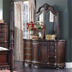 Homelegance Deryn Park 38.25-in x 67.75-in x 49.25-in Brown Dresser With Mirror