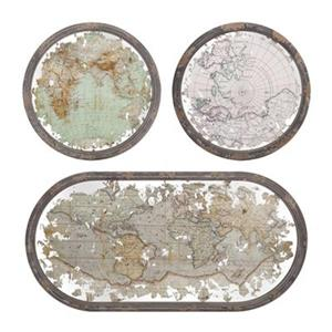 IMAX Worldwide Mirrored Map Wall Decor (Set of 3)