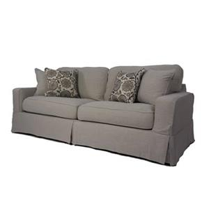 Sunset Trading Americana Gray Slipcover for Box Cushion, Track Arm Sofa