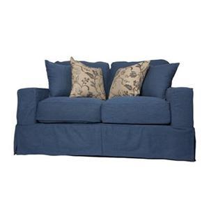 Sunset Trading Americana Blue Slipcover for Box Cushion, Track Arm Loveseat