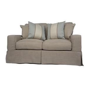 Sunset Trading Americana Tan Linen Slipcover for Box Cushion, Track Arm Loveseat