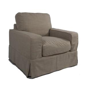 Sunset Trading Americana Tan Linen Slipcover for Box Cushion, Track Arm Chair