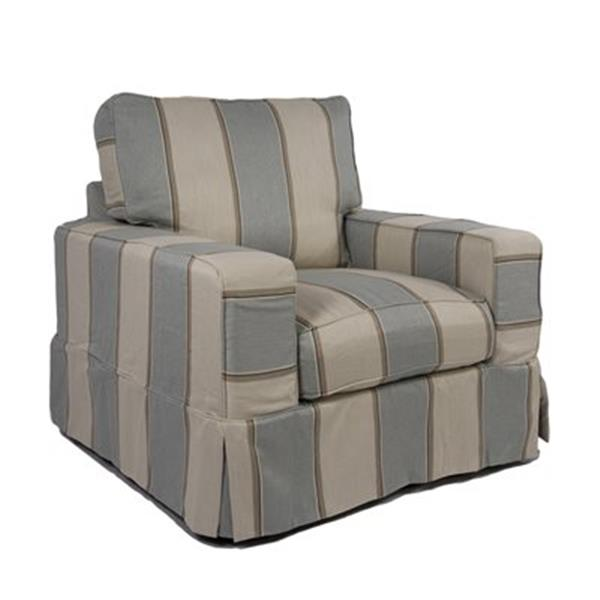 Sunset Trading Americana Beach House Blue Slipcover for Box Cushion, Track Arm Chair