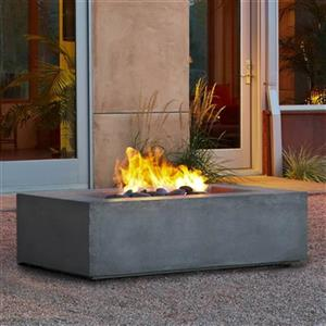 "Real Flame Baltic Rectangular Natural Gas Fire Table- 50""- Glacier Gray"