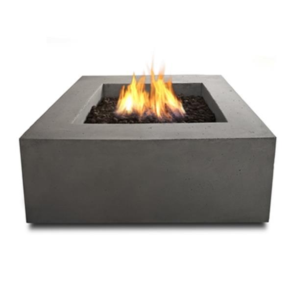 Table-foyer au gaz naturel carrée Real Flame, gris glacier Baltique