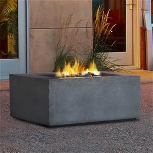 Real Flame Baltic Glacier Gray Square Natural Gas Fire Table