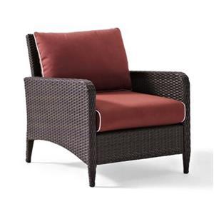 Crosley Furniture Kiawah Sangria Outdoor Wicker Armchair
