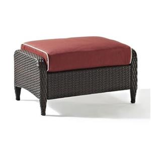 Crosley Furniture Kiawah 16.5-in x 28.75-in Sangria Outdoor Wicker Ottoman