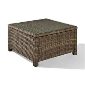 Crosley Furniture Bradenton 32-in x 32-in Brown Square Outdoor Wicker Glass Top Table