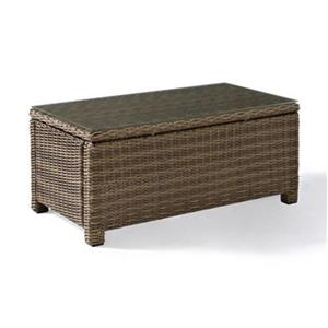 Crosely Furniture Bradenton 40-in x 21-in Brown Rectangular Outdoor Wicker Glass Top Table