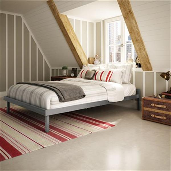 Amisco Glossy Grey 61-in x 83-in Attic Platform Bed
