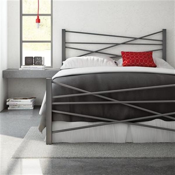 Amisco Crosston Glossy Grey 61.50-in x 80.88-in Metal Bed