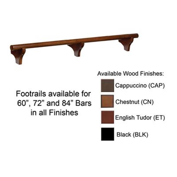 RAM Game Room Products 72-in Dry Bar Foot Rail - Chestnut