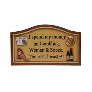 RAM Game Room 14-in x 21-in I Spend My Money Sign