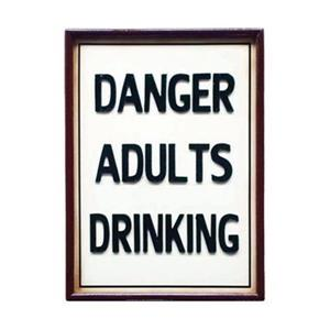 RAM Game Room 15-in x 13-in Danger Adults Drinking Sign