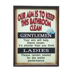 RAM Game Room 16-in x 14-in Our Aim Is to Keep This Bathroom Clean Sign
