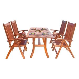 Vifah Malibu Outdoor Eco-Friendly 5-Piece Wood Dining Set
