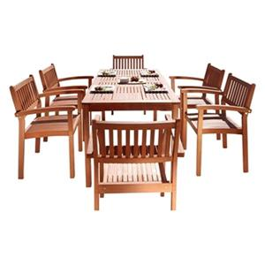 Vifah Malibu Outdoor Eco-Friendly 7-Piece Wood Dining Set