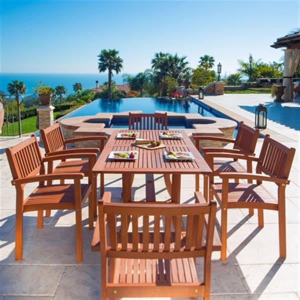 Vifah Malibu Outdoor Eco-Friendly 7-Piece Wood Dining Set