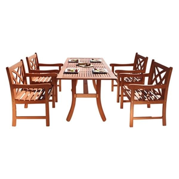 Vifah Malibu Outdoor Eco-Friendly 5-Piece Wood Dining Set