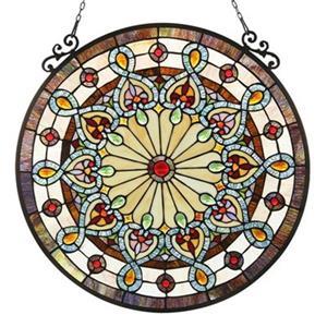Chloe Lighting Helena Tiffany-Glass Victorian Window Panel