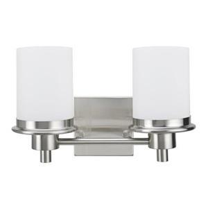 Amlite Lighting Williamsberg Brushed Nickel 2-Light Bathroom Vanity Light