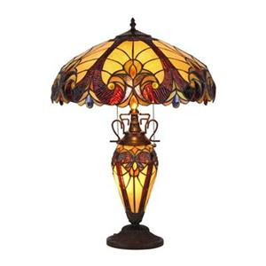 Chloe Lighting Victorian Tiffany-Style 3-Light Double Lit Table Lamp